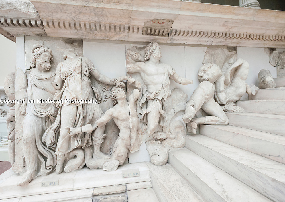 Frieze on   Pergamon Altar at Pergamon Museum in Berlin Germany