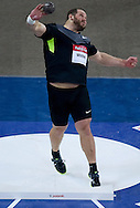 Ryan Whiting of USA competes in men's shot put during indoor athletics meeting Pedro's Cup 2013 at Luczniczka Hall in Bydgoszcz, Poland...Poland, Bydgoszcz, February 12, 2013..Picture also available in RAW (NEF) or TIFF format on special request...For editorial use only. Any commercial or promotional use requires permission...Photo by © Adam Nurkiewicz / Mediasport