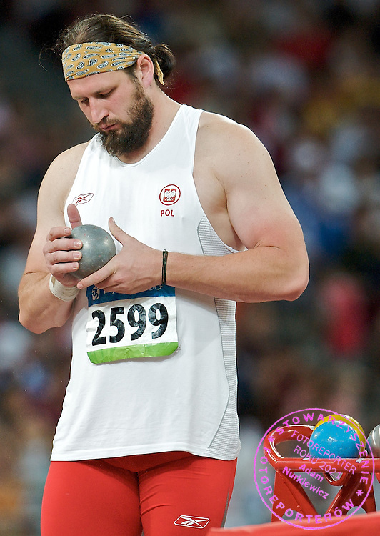 TOMASZ MAJEWSKI (POLAND) WON AND GOT GOLD MEDAL IN SHOT PUT COMPETITION DURING THE BEIJING 2008 SUMMMER OLYMPIC GAMES IN BEIJING, CHINA.. .CHINA , BEIJING , AUGUST 15, 2008..( PHOTO BY ADAM NURKIEWICZ / MEDIASPORT )..PICTURE ALSO AVAIBLE IN RAW OR TIFF FORMAT ON SPECIAL REQUEST.