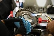 June 25 - 27, 2015: Lamborghini Super Trofeo Round 2-3, Watkins Glen NY. O'Gara Motorsport mechanics work on the car