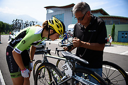 Sheyla Guitierrez (Cylance Pro Cycling) tweaks her saddle ahead of the stage for sprinter at Giro Rosa 2016 - Stage 4. A 98.6 km road race from Costa Volpino to Lovere, Italy on July 5th 2016.