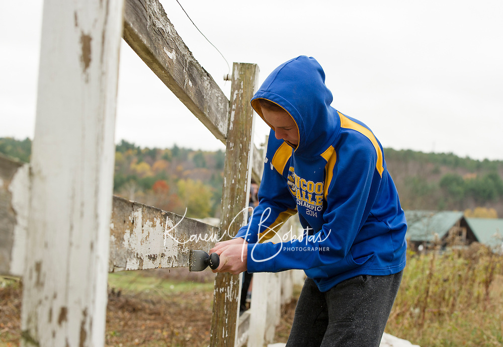 Jeremy Wilson scapes the fence in preparation for a new coat of paint in the Meadows Field as part of the Freshman class Gilford/Gilmanton Community Service Day on Tuesday.  (Karen Bobotas/for the Laconia Daily Sun)