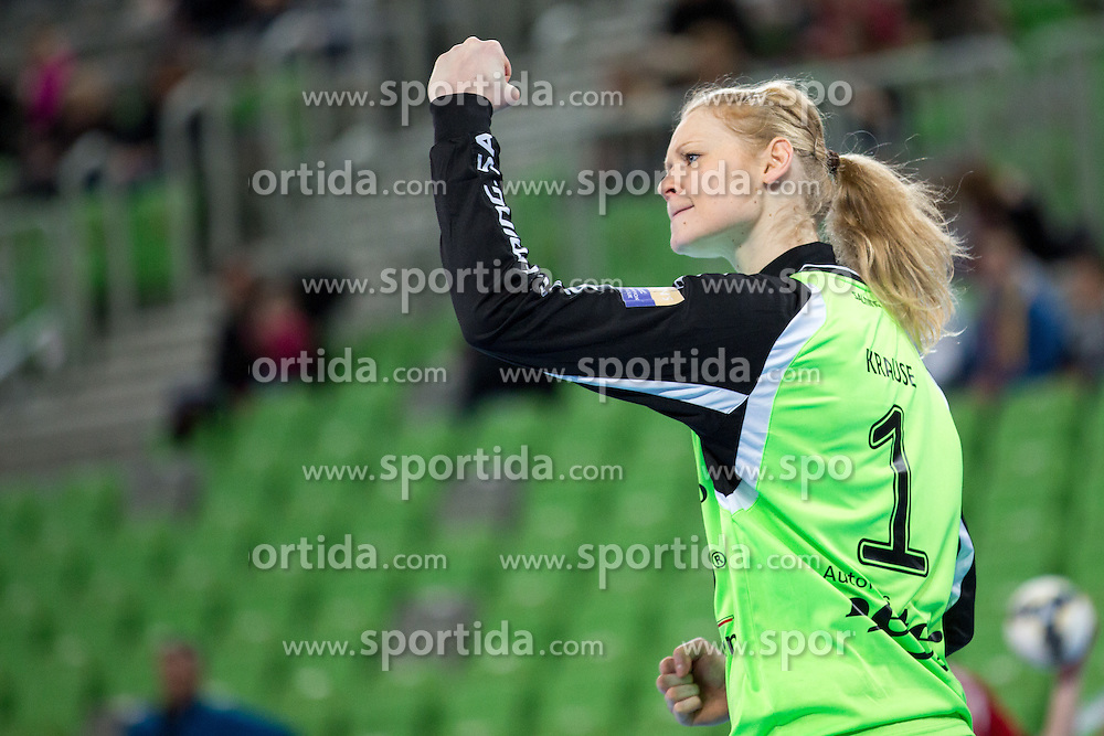 Jana Krause of Thüringer HC during handball match between RK Krim Mercator (SLO) and Thüringer HC (GER) in 6th Round of Women's EHF Champions League 2014/15, on January 31, 2015 in Arena Stozice, Ljubljana, Slovenia. Photo by Matic Klansek Velej / Sportida