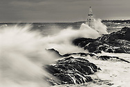 Waves are smashing in a lighthouse