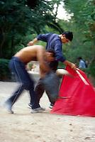 Bullfighters practice in Benito Juarez Park, San Miguel de Allende, Mexico.