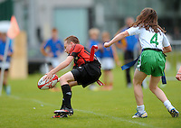 13 Aug 2016:  Ballymote Sligo/Connaught, left, on the attack against Monaghan Town/Ulster  Tag Rugby U14 semi-final. 2016 Community Games National Festival 2016.  Athlone Institute of Technology, Athlone, Co. Westmeath. Picture: Caroline Quinn