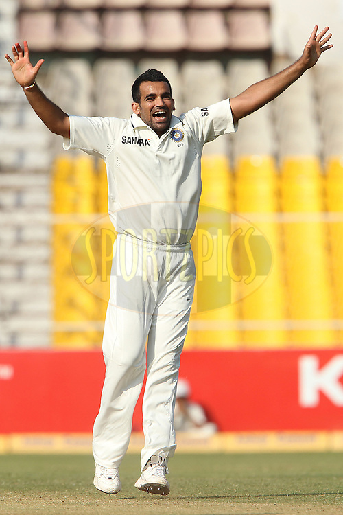 Zaheer Khan of India appeals for the wicket of Kane Williamson of New Zealand during day 3 of the first test match between India and New Zealand  held at the Sardar Patel Gujarat Stadium in Ahmedabad on the 6th November 2010..Photo by Ron Gaunt/BCCI/SPORTZPICS