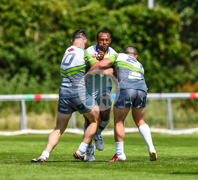 Whitehavens' Don Aiye is tackled by West Wales Raiders' Archie Snook and Steven Parry<br /> <br /> Photographer Craig Thomas/Replay Images<br /> <br /> Betfred League 1 - West Wales Raiders v Whitehaven  - Saturday 23rd June 2018 - Stebonheath Park - Llanelli<br /> <br /> World Copyright © 2017 Replay Images. All rights reserved. info@replayimages.co.uk - www.replayimages.co.uk