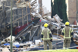 © Licensed to London News Pictures. 27/12/2018. Andover, UK. The ruins of a house are seen in Andover, Hampshire where a mans body has been pulled from wreckage, following an explosion in the property. Residents have been evacuated form the area following a blast in the early hours of this morning. Photo credit: Peter Macdiarmid/LNP