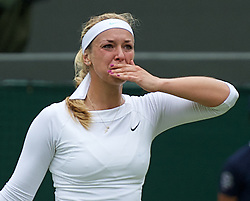 LONDON, ENGLAND - Monday, July 2, 2012: Sabine Lisicki (GER) celebrates winning the Ladies' Singles 4th Round match on day seven of the Wimbledon Lawn Tennis Championships at the All England Lawn Tennis and Croquet Club. (Pic by David Rawcliffe/Propaganda)