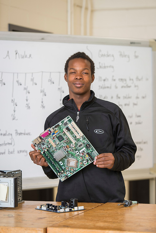 Furr High School student Lateef Williams poses for a photograph in a STEM class at the Barbara Jordan High School for Careers, November 21, 2016.