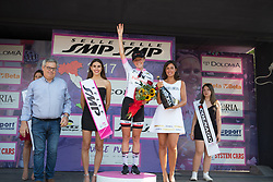 Floortje Mackaaij (NED) of Team Sunweb celebrates retaining the best young rider's white jersey after Stage 7 of the Giro Rosa - a 141.9 km road race, between Isernia and Baronissi on July 6, 2017, in Isernia, Italy. (Photo by Balint Hamvas/Velofocus.com)