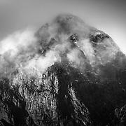 The peak of Stob Dearg shrouded in mist