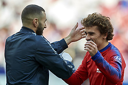 February 9, 2019 - Madrid, Madrid, Spain - Antoine Griezmann of Atletico Madrid  and Karim Benzema of Real Madrid during the week 23 of La Liga between Atletico Madrid and Real Madrid at Wanda Metropolitano stadium on February 09 2019, in Madrid, Spain. (Credit Image: © Jose Breton/NurPhoto via ZUMA Press)