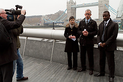 © Licensed to London News Pictures.05/04/2012. London, UK. The Lib Dem mayor of London candidate Brian Paddick  (centre) pictured outside City Hall today (05/04) with Caroline Pigeon (left centre) to announce that if elected Dwayne Brooks (far right) would become deputy mayor for youth and community. Photo credit : James Gourley/LNP
