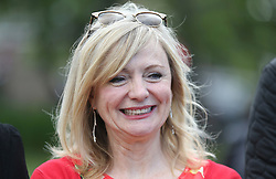 © Licensed to London News Pictures. 16/06/2017. Birstall, UK.  MP for Batley and Spen, Tracey Brabin attends the ceremony.  500 school children from nine schools in the Birstall area that have joined together in Heckmondwike Green to sing songs in memory of MP Jo Cox this morning. Today marks the one year anniversary of the death of Labour MP for Batley & Spen Jo Cox. Jo Cox died after being shot & stabbed by Thomas Mair outside Birstall library where she had been due to hold a constituency surgery. Photo credit: London News Pictures