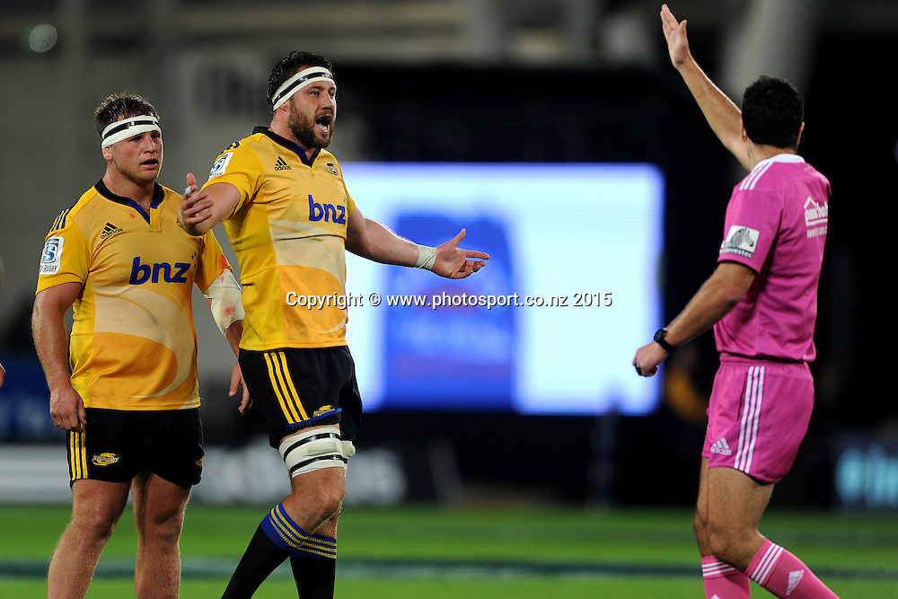 Jeremy Thrush of the Hurricanes disagrees with a penalty, during the Super Rugby Match between the Highlanders and the Hurricanes, at Forsyth Barr Stadium, Dunedin, New Zealand, 20 March 2015. Credit: Joe Allison / www.photosport.co.nz