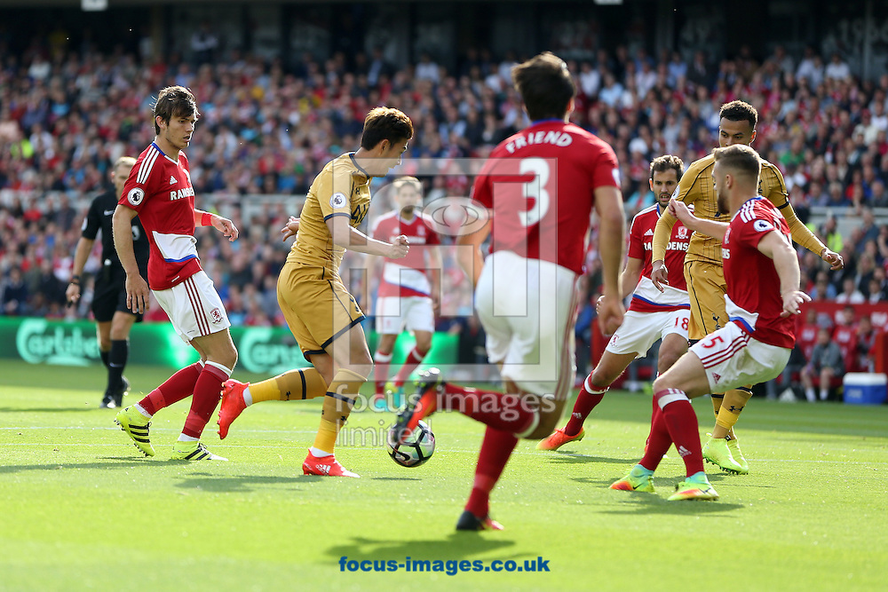 Son Heung-min of Tottenham Hotspur goes past the Middlesbrough defence before opening the scoring during the Premier League match at the Riverside Stadium, Middlesbrough<br /> Picture by Christopher Booth/Focus Images Ltd 07711958291<br /> 24/09/2016
