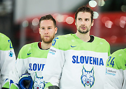 Robert Sabolic of Slovenia, Blaz Gregorc of Slovenia, Rok Ticar of Slovenia look dejected after the 2017 IIHF Men's World Championship group B Ice hockey match between National Teams of Finland and Slovenia, on May 10, 2017 in AccorHotels Arena in Paris, France. Photo by Vid Ponikvar / Sportida