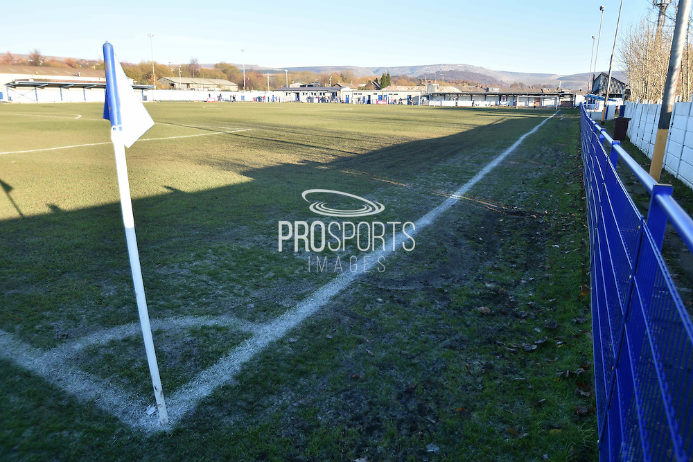 A frozen pitch before  the Evo-Stik Premier League match between Glossop North End and Scarborough Athletic at the Arthur Goldthorpe Stadium, Glossop, United Kingdom on 26 November 2016. Photo by Mark Pollitt.