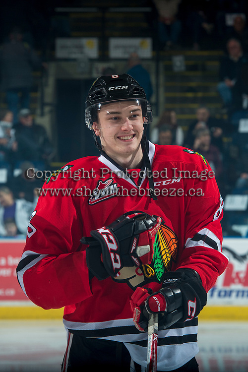 KELOWNA, CANADA - APRIL 7: Cody Glass #8 of the Portland Winterhawks lines up against the Kelowna Rockets on April 7, 2017 at Prospera Place in Kelowna, British Columbia, Canada.  (Photo by Marissa Baecker/Shoot the Breeze)  *** Local Caption ***