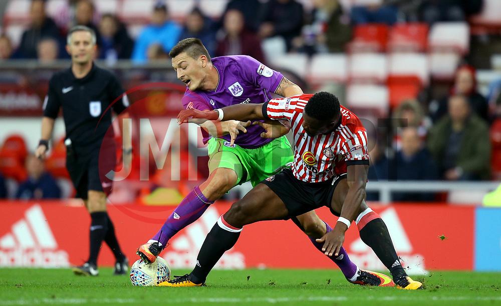 Milan Djuric of Bristol City takes on Lamine Kone of Sunderland - Mandatory by-line: Robbie Stephenson/JMP - 28/10/2017 - FOOTBALL - Stadium of Light - Sunderland, England - Sunderland v Bristol City - Sky Bet Championship