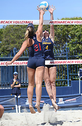 April 7, 2018 - Tucson, AZ, U.S. - TUCSON, AZ - APRIL 07: California Golden Bears Bryce Bark (4) tries to block the ball during a college beach volleyball match between the California Golden Bears and the Arizona Wildcats on April 07, 2018, at Bear Down Beach in Tucson, AZ. Arizona defeated California 3-2. (Photo by Jacob Snow/Icon Sportswire (Credit Image: © Jacob Snow/Icon SMI via ZUMA Press)