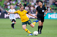 MELBOURNE, VIC - MARCH 06: Elise Kellond-Knight (8) of Australia crosses the ball during The Cup of Nations womens soccer match between Australia and Argentina on March 06, 2019 at AAMI Park, VIC. (Photo by Speed Media/Icon Sportswire)
