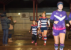 Mascot runs out with Amber Reed of Bristol Ladies - Mandatory by-line: Paul Knight/JMP - 11/11/2017 - RUGBY - Cleve RFC - Bristol, England - Bristol Ladies v Loughborough Lightning - Tyrrells Premier 15s
