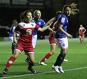 Everton Ladies Vicky Jones and Bristol Academy's Christie Murray during the Women's FA Cup fourth round match between Everton Ladies and Bristol Academy ladies at the Select Securities Stadium, Widnes, United Kingdom on 24 March 2015. Photo by Andrew Morfett.