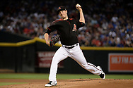 Aug 12, 2017; Phoenix, AZ, USA; Arizona Diamondbacks starting pitcher Patrick Corbin (46) delivers a pitch in the first inning of the MLB game against the Chicago Cubs at Chase Field. Mandatory Credit: Jennifer Stewart-USA TODAY Sports