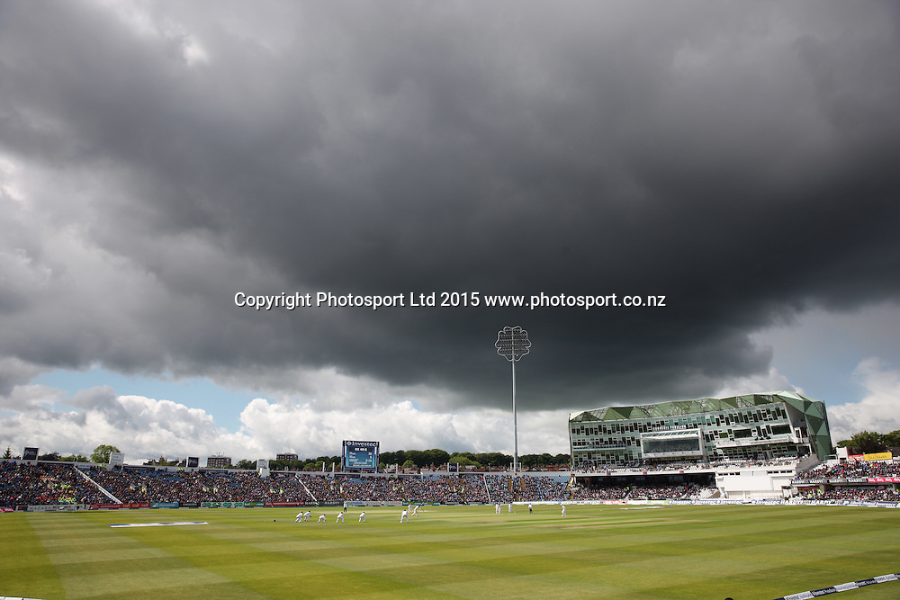 Rain clouds during the second Investec Test Match between England and New Zealand at Headingley, Leeds. Photo: Graham Morris/www.photosport.co.nz