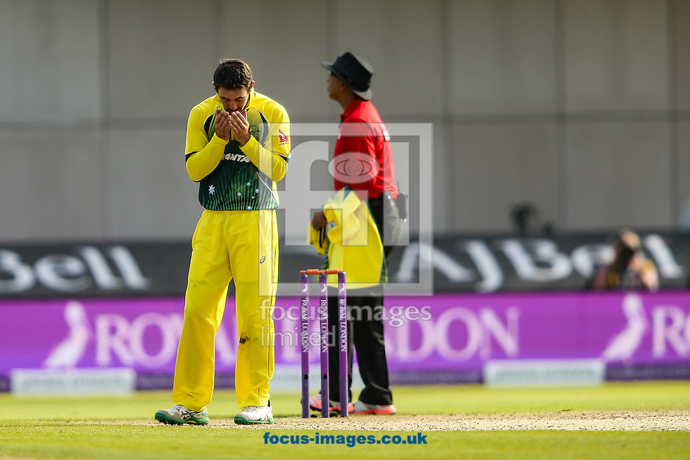 Glenn Maxwell of Australia rues a near miss during the 3rd One Day International match at Old Trafford Cricket Ground, Stretford<br /> Picture by Andy Kearns/Focus Images Ltd 0781 864 4264<br /> 08/09/2015