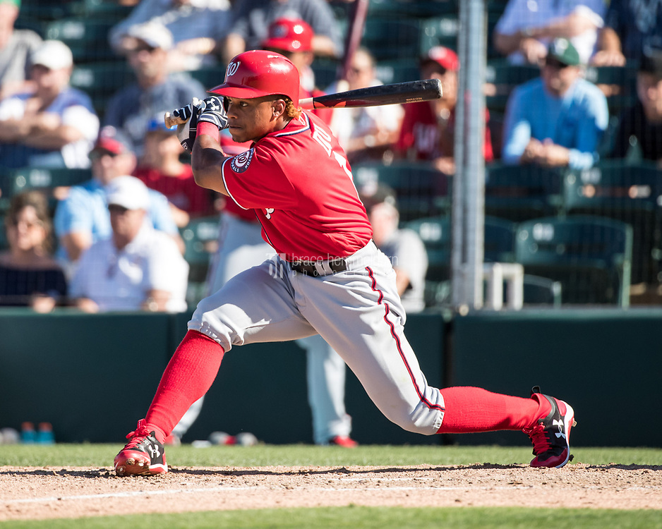 FORT MYERS, FL- FEBRUARY 26: Wilmer Difo #1 of the Washington Nationals bats against the Minnesota Twins on February 26, 2017 at Hammond Stadium in Fort Myers, Florida. (Photo by Brace Hemmelgarn) *** Local Caption *** Wilmer Difo