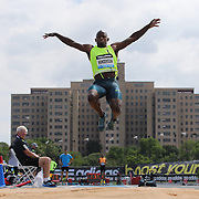Jeff Henderson, USA, in action while winning the Men's Long Jump competition during the Diamond League Adidas Grand Prix at Icahn Stadium, Randall's Island, Manhattan, New York, USA. 14th June 2014. Photo Tim Clayton