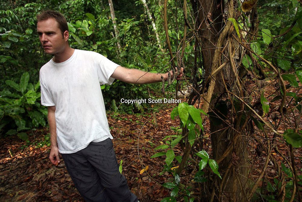 Hamilton Souther, a shamanic guide and the founder of Blue Morpho, a center for shamanic studies about one hour outside of Iquitos in the Peruvian Amazon, shows guests an ayahuasca vine on August 13, 2007. (Photo/Scott Dalton).