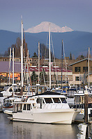 Yachts in the Squalicum Marina at dusk with Mount Baker looming in the background, Bellingham Bay Washington