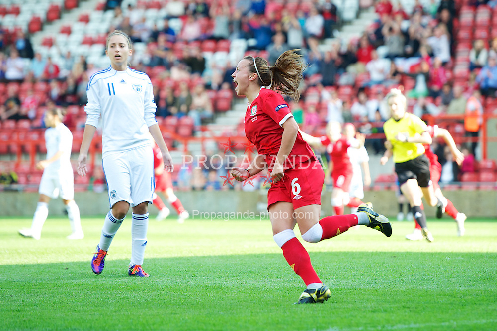 WREXHAM, WALES - Wednesday, June 20, 2012: Wales' Natasha Harding celebrates scoring the first goal of her first-half hat-trick against Israel during the UEFA Women's Euro 2013 Qualifying Group 4 match at the Racecourse Ground. (Pic by David Rawcliffe/Propaganda)