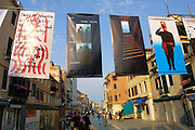 VENICE, ITALY..49th Biennale of Venice.Posters against war by many different artists..(Photo by Heimo Aga)