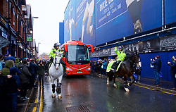 LIVERPOOL, ENGLAND - Sunday, March 3, 2019: The Liverpool team bus arrives before the FA Premier League match between Everton FC and Liverpool FC, the 233rd Merseyside Derby, at Goodison Park. (Pic by Laura Malkin/Propaganda)