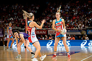 SYDNEY, AUSTRALIA - AUGUST 24: Maddy Turner of the Swifts looks to pass the ball during the round 14 Super Netball match between the Swifts and the Queensland Firebirds at Qudos Bank Arena on August 24, 2019 in Sydney, Australia.(Photo by Speed Media/Icon Sportswire)