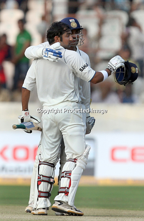 Indian Batsman Gautam Gambhir Celebrates Half Century With Virender Sehwag Against New Zdealand  During The 2nd Test Match India vs New Zealand Played at Rajiv Gandhi International Stadium, Uppal, Hyderabad 13, November 2010 (5-day match)