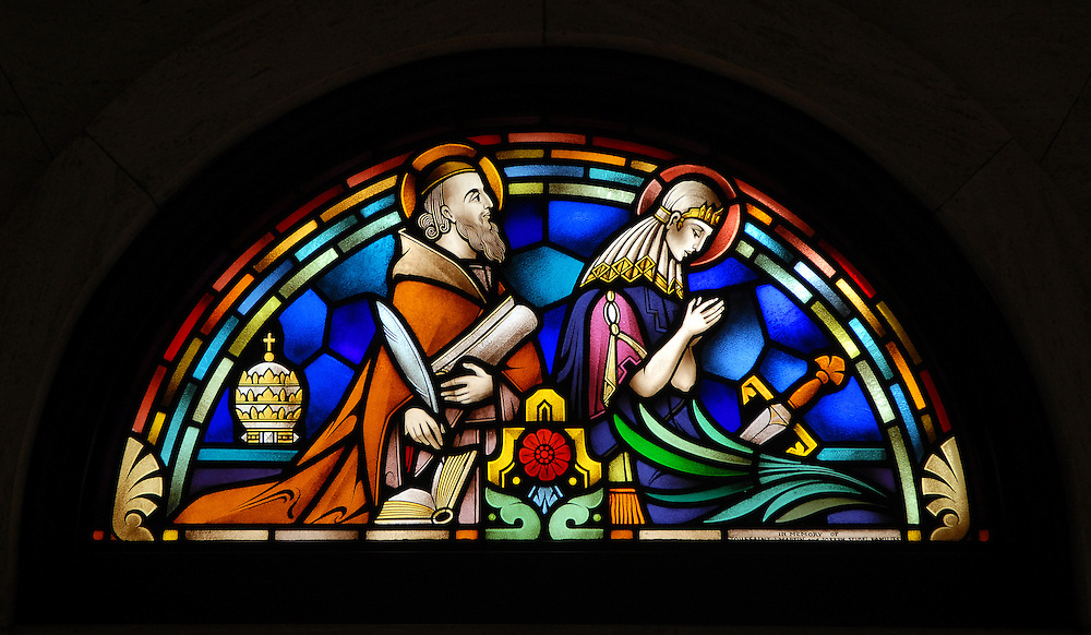 Stained glass image depicting St. Urban and St. Joan of Arc from St. Francis Xavier Cathedral in Green Bay. (Photo by Sam Lucero)