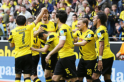 "09.05.2015, Signal Iduna Park, Dortmund, GER, 1. FBL, Borussia Dortmund vs Hertha BSC, 32. Runde, im Bild Shinji Kagawa (Borussia Dortmund #7), Torschuetze Neven Subotic (Borussia Dortmund #4), Henrikh ""Micki"" Mkhihtaryan (Borussia Dortmund #10), Mats Hummels (Borussia Dortmund #15), Marcel Schmelzer (Borussia Dortmund #29) und Pierre-Emerick Aubameyang (Borussia Dortmund #17) beim Torjubel nach dem Treffer zum 1:0 // during the German Bundesliga 32th round match between Borussia Dortmund and Hertha BSC at the Signal Iduna Park in Dortmund, Germany on 2015/05/09. EXPA Pictures © 2015, PhotoCredit: EXPA/ Eibner-Pressefoto/ Schüler<br /> <br /> *****ATTENTION - OUT of GER*****"