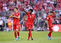 Fussball  1. Bundesliga  Saison 2019/2020  3. Spieltag  FC Bayern Muenchen - 1. FSV Mainz 05         31.08.2019 Jubel FC Bayern Muenchen; Ivan Perisic, Torschutze zum 2-1 David Alaba und Philippe Coutinho (v.li.)