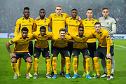 The BSC Young Boys team pose for a team picture before the Europa League Group G match between Rangers FC and BSC Young Boys at Ibrox Park, Glasgow, Scotland on 12 December 2019.