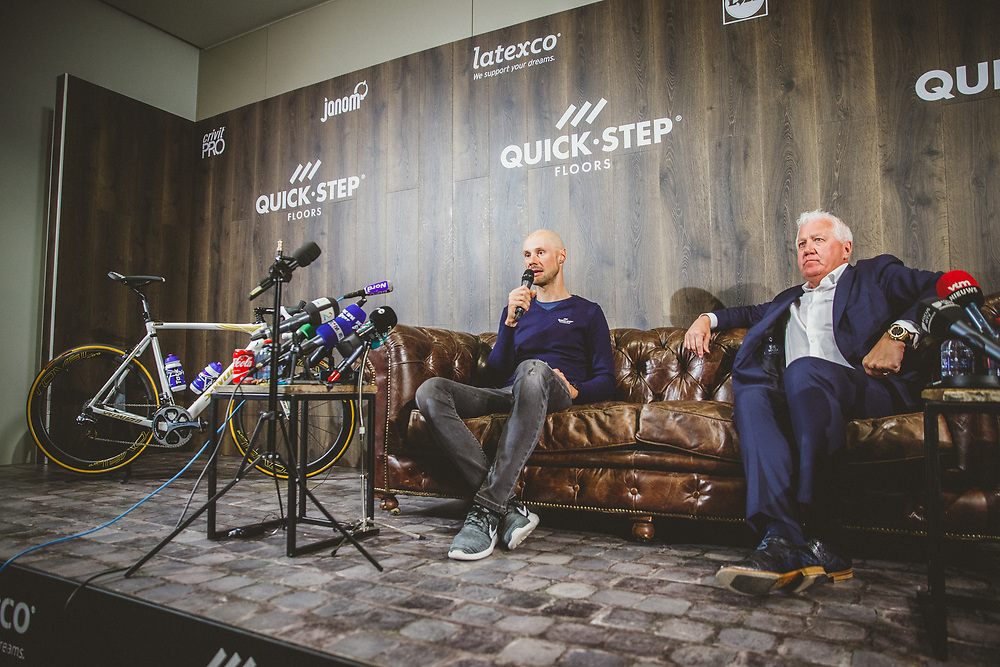 Tom Boonen and the Quick-Step Floors Paris-Roubaix squad meet the press in advance of Tom's last ride in Sunday's Paris-Roubaix race before his retirement from procycling. Photo: Iri Greco / BrakeThrough Media | www.brakethroughmedia.com