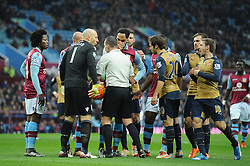 Referee, Kevin Friend awards a penalty after Theo Walcott is fouled by Alan Hutton of Aston Villa - Mandatory byline: Dougie Allward/JMP - 13/12/2015 - Football - Villa Park - Birmingham, England - Aston Villa v Arsenal - Barclays Premier League