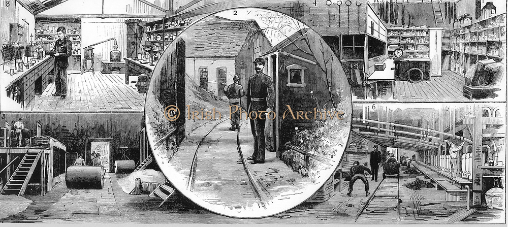 Nobel Explosives Company Limited, Ardeer, Ayrshire.  2:  Gate to Danger Department, with Searcher on duty.  3:  Laboratory.  4: Stores.  5:  Preparation of Kieselguhr which was mixed with Nitroglycerine to form Dynamite.  6: Producing Nitric acid.     From 'The Illustrated London News', 16 April 1884