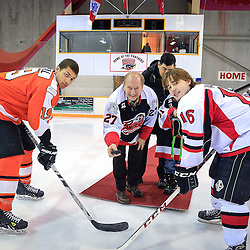 PICKERING, ON - Feb 7 : Ontario Junior Hockey League Game Action between the Pickering Panthers Hockey Club and Orangeville Flyers Hockey Club, Mike Walker #16 of the Pickering Panthers Hockey Club, Emmerson Small #19 of the Orangeville Flyers Hockey Club and Deputy Mayor Doug Dickerson during the pre-game ceremony<br /> (Photo by Keith White / OJHL Images)
